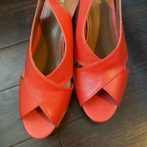 Great pair of new wedge along back shoes